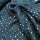 Jersey - Dress Polyester Fabric - Black with Gold Squares